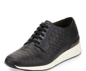 Vince Rayner Python Leather Lace Up Sneakers